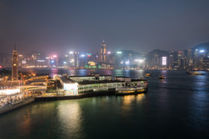 China, Hong Kong, Victoria Harbor at night
