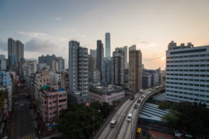 Hong Kong, view of Kowloon at sunset