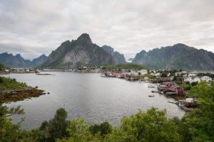 Norway, Lofoten, Reine fishing village by day
