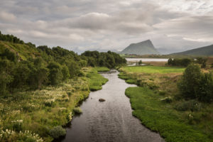Norway, Lofoten, river through landscape