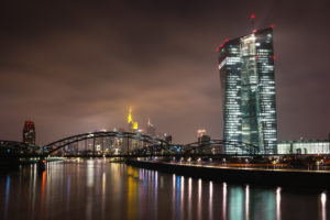 Germany, Frankfurt am Main, ECB and Main in the evening