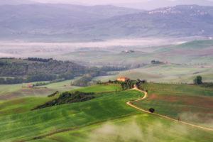 Italien, Toskana, Landschaft im Nebel, Hügel