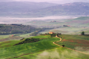 Italy, Tuscany, landscape in the fog, hills