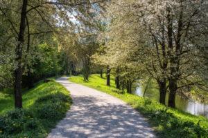 Fußweg im Frühling,Karlsruhe, Deutschland