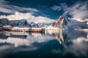 Winterlandschaft in Lofoten, Norwegen