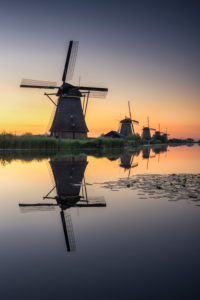 The windmills of Kinderdijk, sunrise, Netherlands