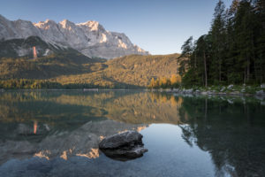 Eibsee at sunrise, Bavaria, Germany