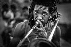 Cuba, Havanna, Musician playing trombone