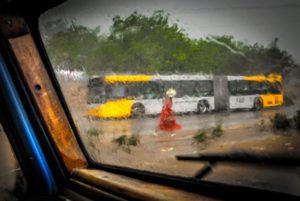 Cuba, Havanna, street scene, car, bus, woman in red dress, Inspired by Goya