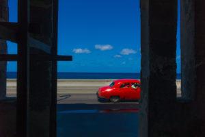 Cuba, Havanna, red car and blue sky,