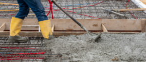 concrete casting of a foundation or ceiling for a new building