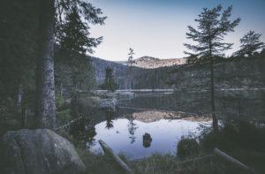 Big Abersee in autumn, Bavaria, Germany, Europe