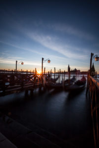 Italy, Venice, St. Mark's Square, gondolas, long exposure