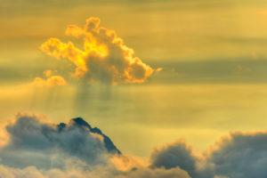 Cloud shadow at mountaintop