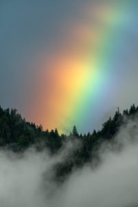 Rainbow at the Rauteck above the lake Walchensee