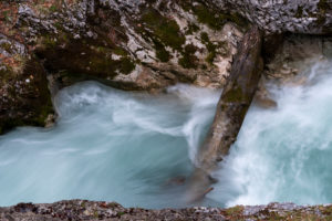 The ghost gorge or also Leutaschklamm with Mittenwald. Detail of the rapids between the rocks