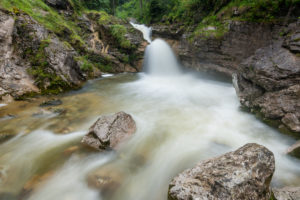 One of the lower waterfalls of the Kuhflucht in the Bavarian Prealps of the Ester Mountains.