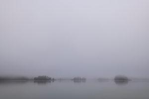 Die Inseln des Fohnsee im Herbst. Nebel sorgt für eine graue Stimmung noch vor Sonnenaufgang.