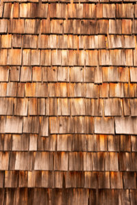 Wooden shingles of a mountain hut in the Tyrolean Alps