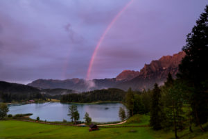 Rainbow over the Karwendel at Lautersee near Mittenwald