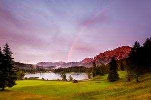 Rainbow over the Karwendel at Lautersee near Mittenwald