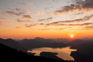 Sunrise in spring over the Walchensee and Karwendel seen from Simetsberg