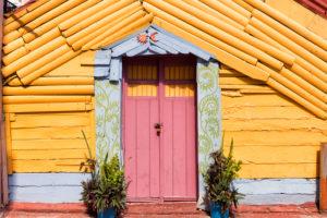 Brightly colored door and wall,Isla Mujeres,Yucatan Peninsula,Quintana Roo,Mexico