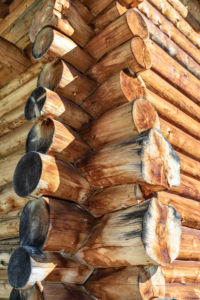 detail of a wooden hut built with the old system Blockbau, Puez-Geisler Nature Park, Dolomites, San Martin de Tor, Bolzano, South Tyrol, Italy