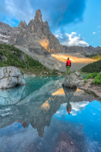 Dito di Dio (Finger of God) reflected in the turquoise water of Sorapiss lake, Dolomites, Cortina d' Ampezzo, Belluno, Veneto, Italy