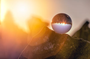 Crystal ball, cairns on the Peterskopfl, Ginzling, Zillertal, Tyrol, Austria