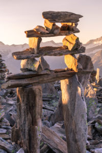 Cairns on the Peterskopfl, Ginzling, Zillertal, Tyrol, Austria