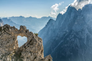 Europe, Italy, Veneto, Belluno, Agordino. The heart of rock, a natural hole in the shape of a heart, Pala group, Dolomites