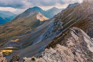 Blick vom Klettersteig Bepi Zac in Richtung Passo delle Selle, Costabella-Kamm, Marmolada-Gruppe, Dolomiten, Fassatal, Trento-Provinz, Trentino-Alto Adige, Italien