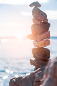 Stack of pebbles on the beach in Stara Baska, island of Krk, Kvarner Bay, Primorje-Gorski Kotar County, Croatia