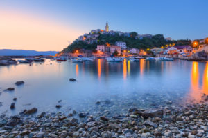 Harbour and historic town of Vrbnik, Krk island, Kvarner bay, Croatia