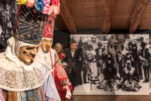 the exhibition of traditional masks in Algundei Museum of Dosoledo, Comelico Superiore, Belluno, Veneto, Italy