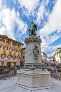 Pieve di Cadore, the main square with the bronze statue of Tiziano Vecellio, Dolomites, Belluno, Veneto, Italy