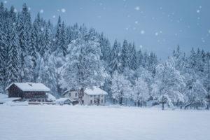 rural winter scenery in the ansiei valley, federavecchia, auronzo di cadore, dolomites, belluno, veneto, italy