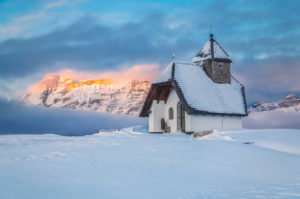Alpine chapel at Pralongia in winter, Corvara in Badia, Alta Badia, Alto Adige - South Tyrol, Italy, Europe