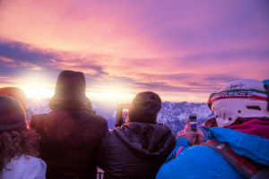 people at dawn on the panoramic terrace of punta rocca, marmolada, rocca pietore, belluno, veneto, italy