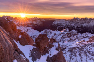 sunrise from the queen, watch the sun rise from the rooftop terrace of Punta Rocca, Marmolada, Rocca Pietore, Belluno, Veneto, Italy