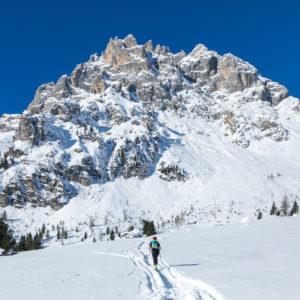 ski mountaineering towards the menegazzi bivouac, area of the croda granda, pale di san martino, agordino, belluno, veneto, italy