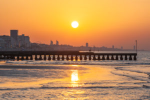 Jesolo, lighthouse beach at sunrise, adriatic sea, venice, veneto, italy