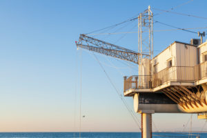 Trabucco, modern fishing platforms that protrude into the Adriatic Sea, Marina di Ravenna, Adriatic Coast, Emilia Romagna