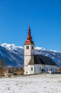 Church of the Assumption of the Virgin Mary (cerkev Marijinega vnebovzetja) in Bitnje, Bohinjska Bistrica, Upper Carniola, Slovenia