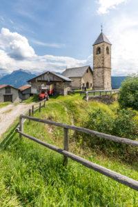 The old gothic church of St. Leonard (San Leonardo), Casamazzagno, Comelico Superiore, Dolomites, Velluno, Veneto, Italy