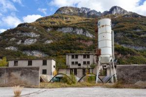 abandoned cement plant, industrial ruins, castellavazzo, belluno, veneto, italy