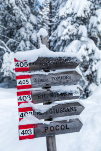 Signpost to the alpine refuges,Dolomites, Cortina d'Ampezzo, Belluno, Veneto, Italy