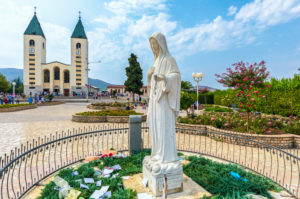 Saint James church in Medjugorje and the statue of the Virgin Mary, municipality of Citluk, Bosnia and Herzegovina