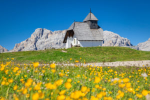 Lonely chapel of Sant Anthony on the high plateau of Pralongia in summertime, Corvara, Alta Badia , South Tyrol, Italy, Europe